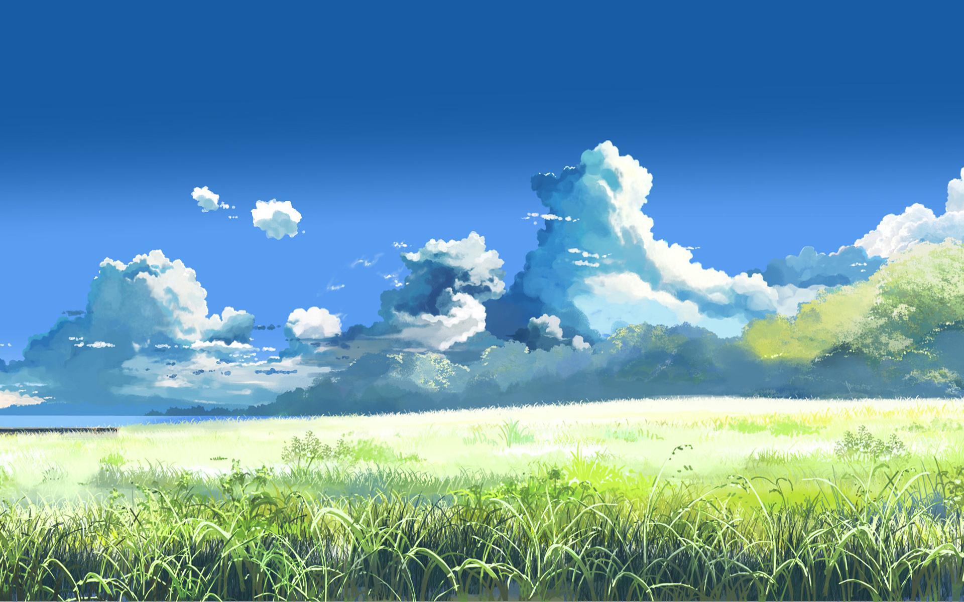 Небо трава солнечно нарисовано обои