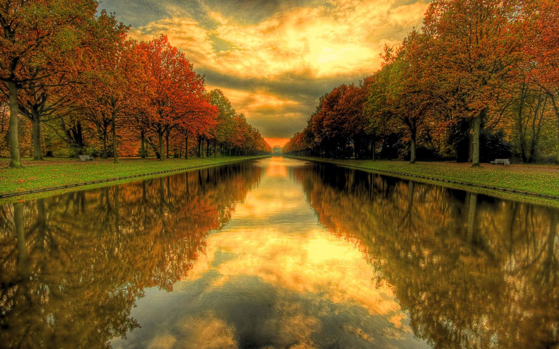 Пейзажи природа вода трава осень