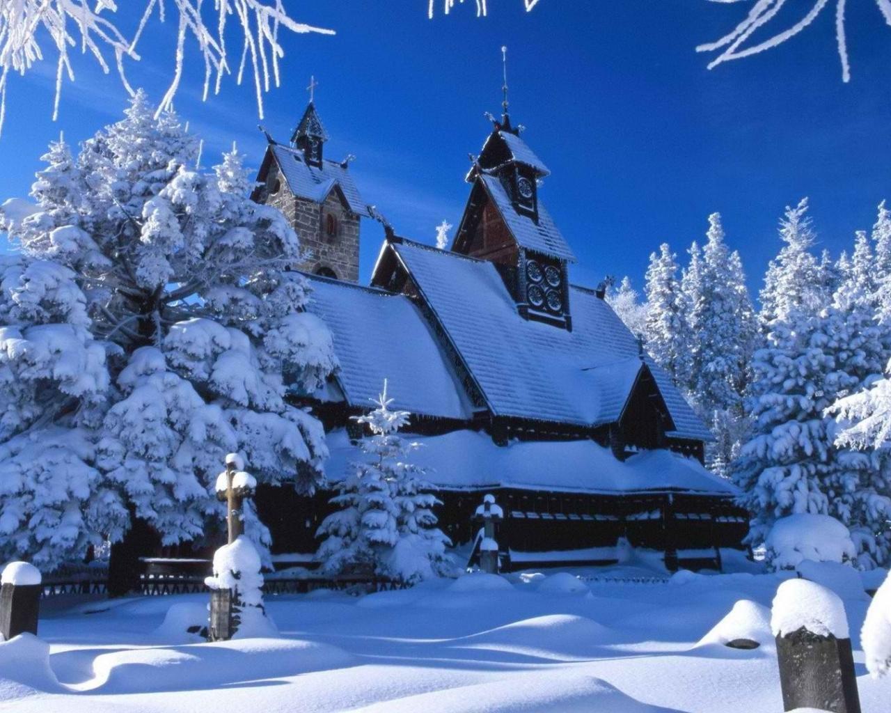 Обои природа природа зима лес дом снег