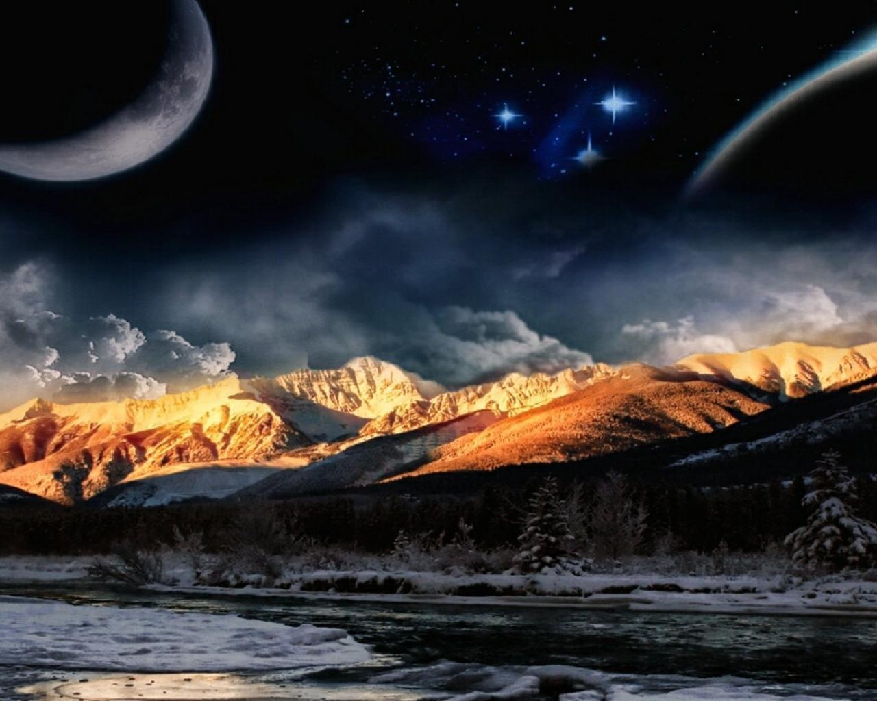 Обои космос космос планета ночь горы