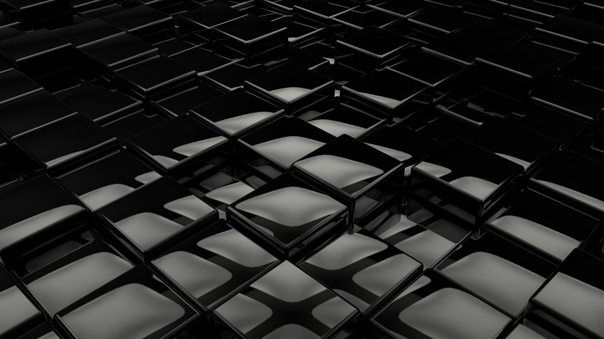 Black cubes render обои для рабочего стола