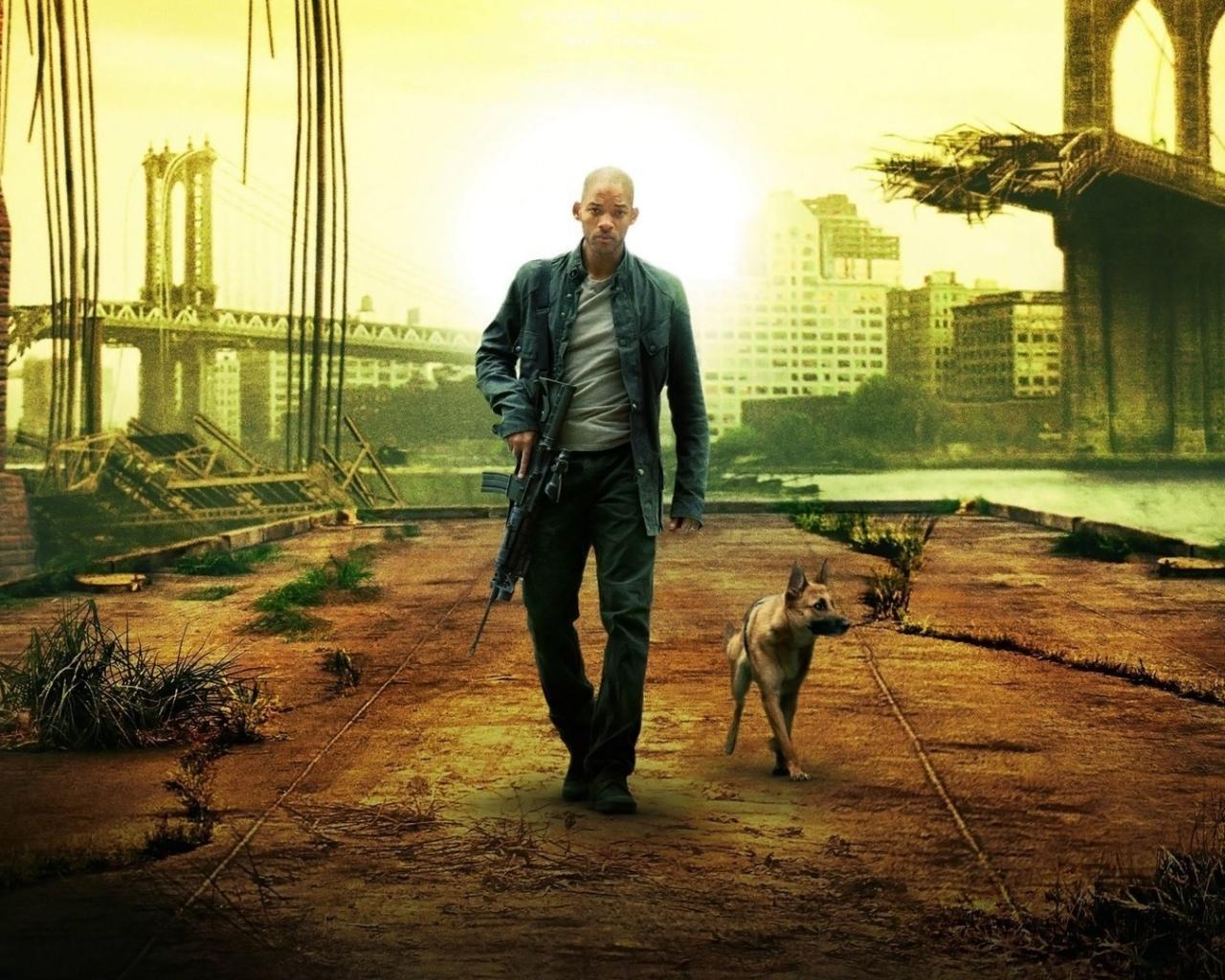 Я легенда, город, человек, собака обои для рабочего стола ...