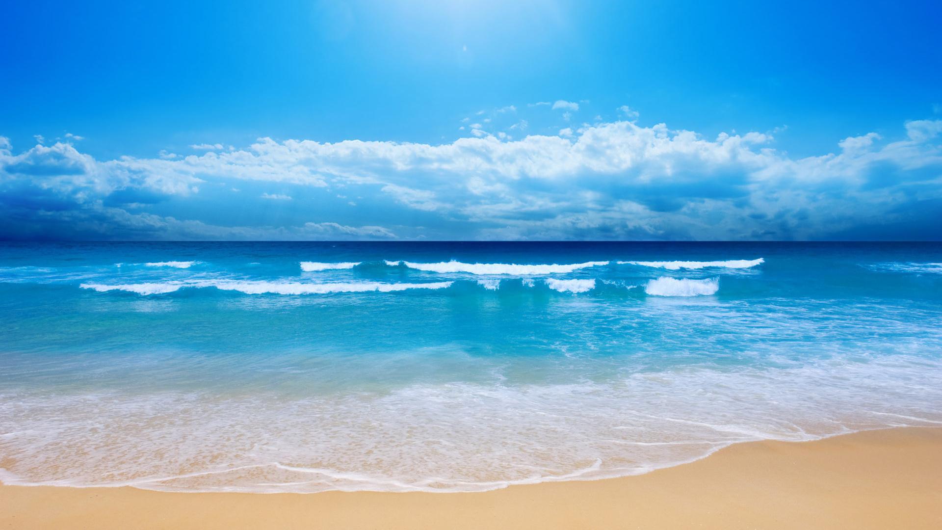 Пляж волны песок море океан пена