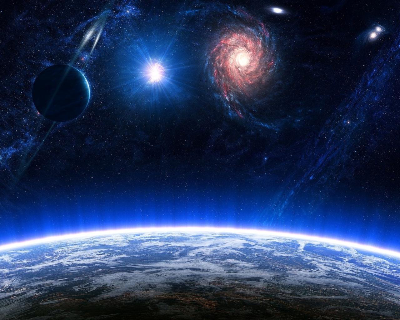 Обои космос космос земля сатурн